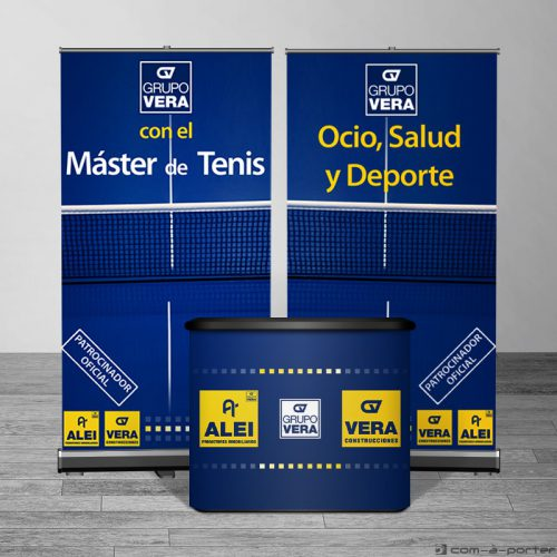 Diseño de expositores y mostrador modular de Grupo Vera para Máster de Tenis