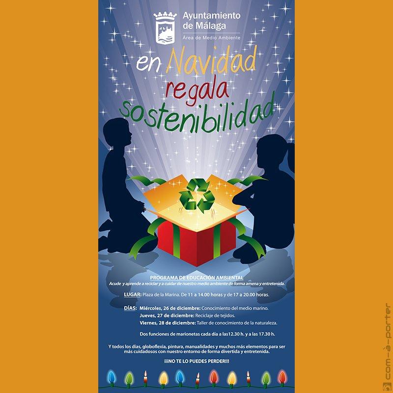 Cartel de Navidad de Programación de Educación Ambiental del Ayuntamiento de Málaga