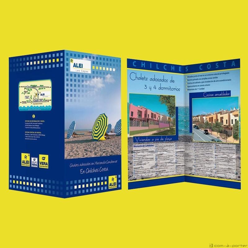 Díptico para promoción de viviendas en Chilches Costa de ALEI Promotores Inmobiliarios