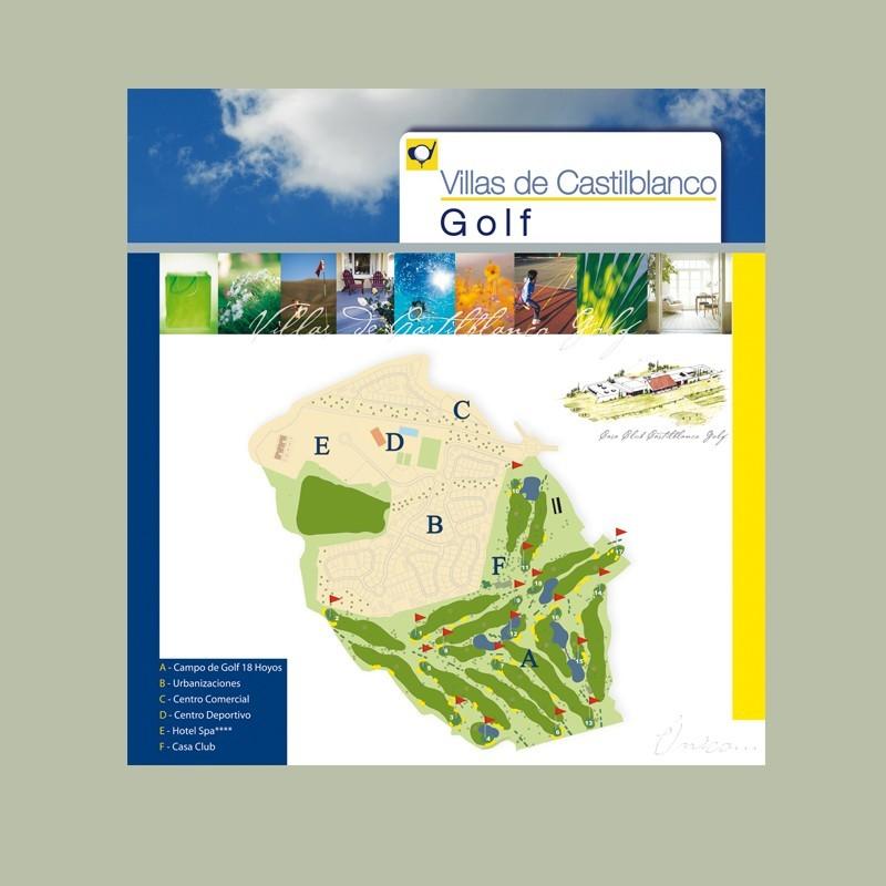 Stand modular de Promoción Castilblanco GOLF de ALEI Pormotores Inmobiliario, Grupo Vera, para la Feria de Don Benito, Badajoz