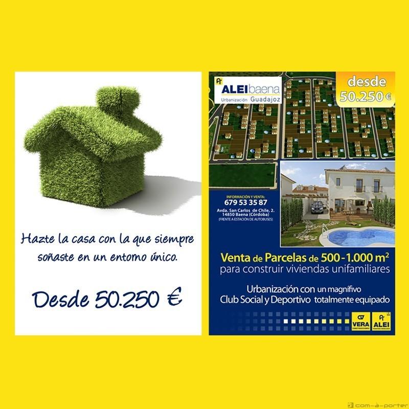 Flyer promocional de Urbanización Guadajoz (Baena) de ALEI Promotores Inmobiliarios