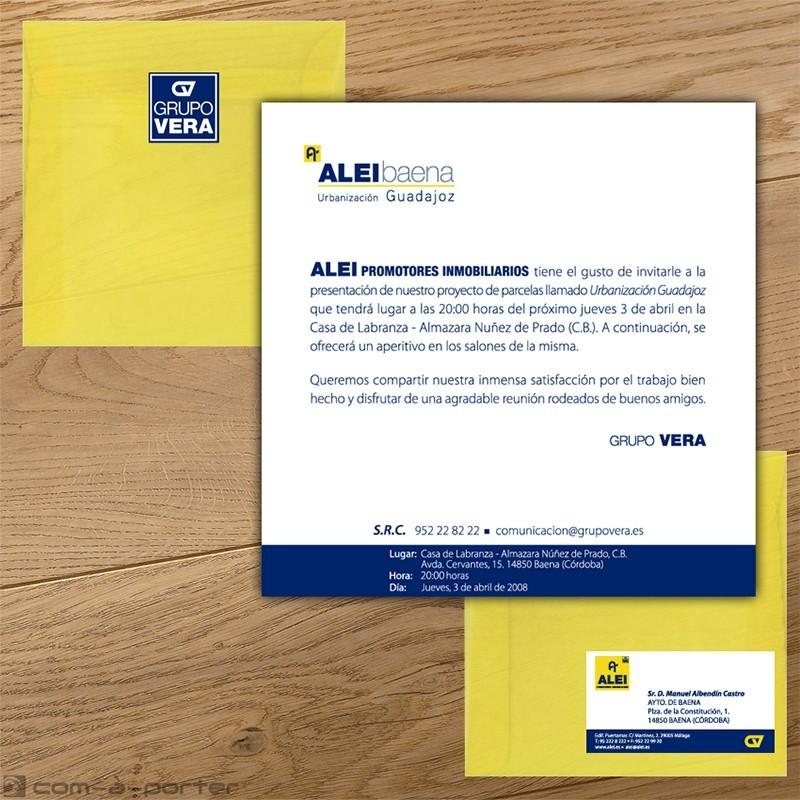 Diseño de Invitación de presentación de proyecto (ALEI Promotores Inmobiliarios)