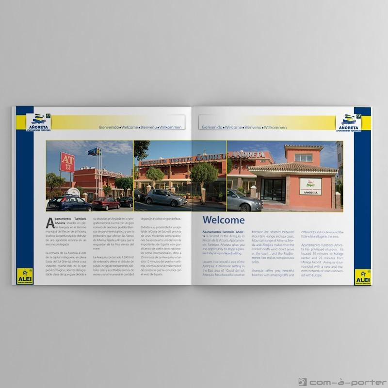 Maquetación de Catálogo bilingüe de ALEI Apartamentos Turísticos