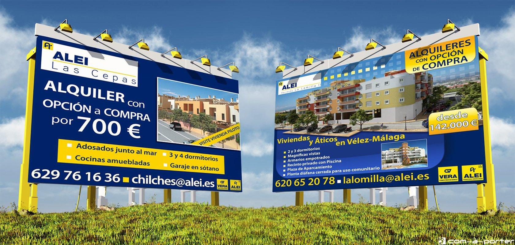 Vallas promocionales de ALEI Promotores Inmobiliarios