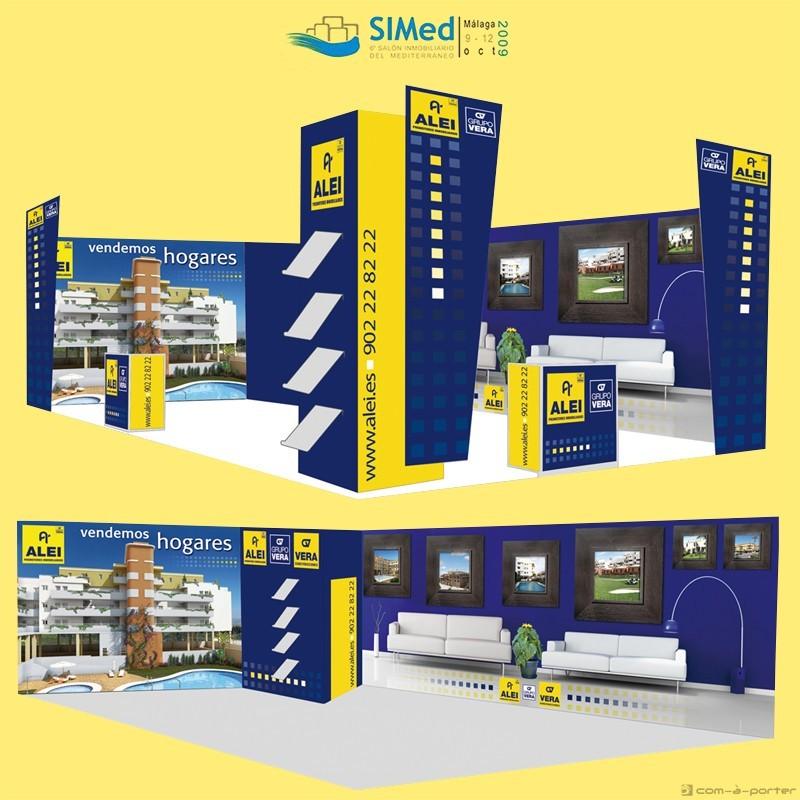 Stand modular de 50 metros para 6º Salón Inmobiliario del Mediterráneo (SIMed 2009) de ALEI Promotores Inmobiliarios, Grupo Vera
