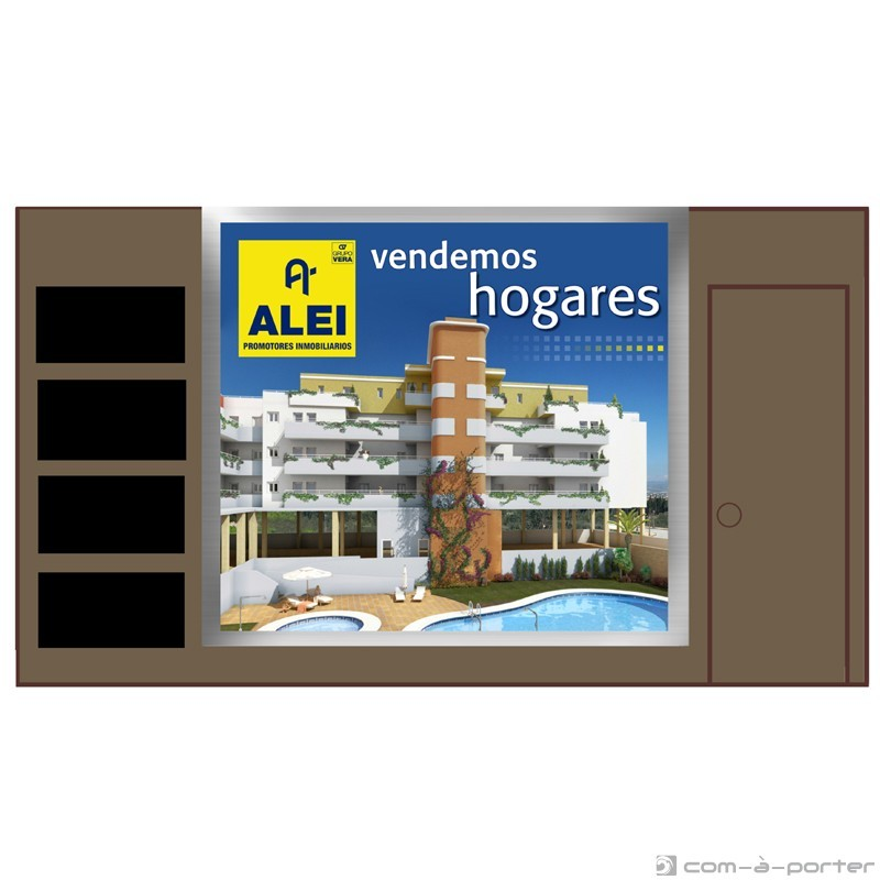 """Cartelería para stand de ALEI Promotores Inmobiliarios para 1ª Feria """"AquíTuCasa"""" de Vivienda de Málaga"""