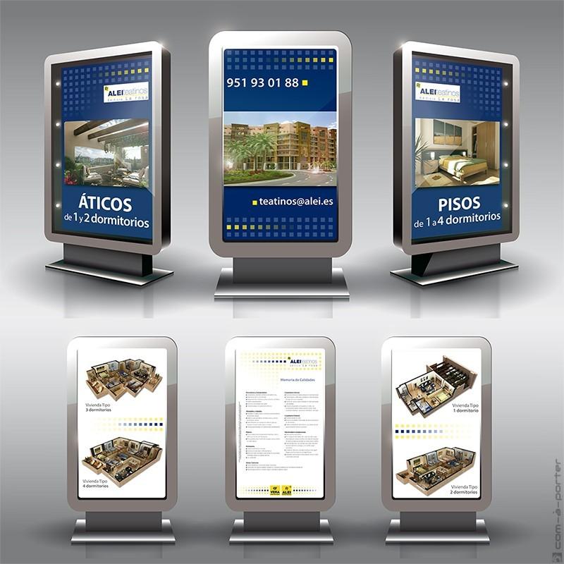 Cartelería para soporte retroiluminado en Oficina de Ventas de Teatinos de Alei Promotores Inmobiliarios