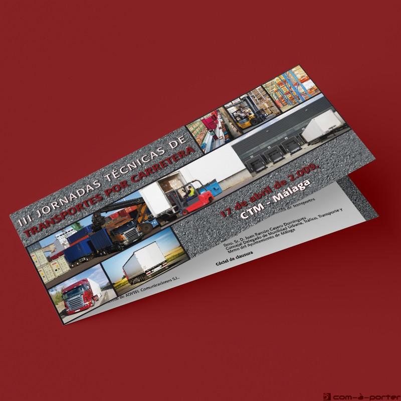 Díptico de las III Jornadas Técnicas de Transportes por Carretera (Fetrama)
