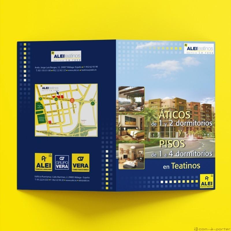 Díptico para promoción de viviendas en Teatinos de ALEI Promotores Inmobiliarios
