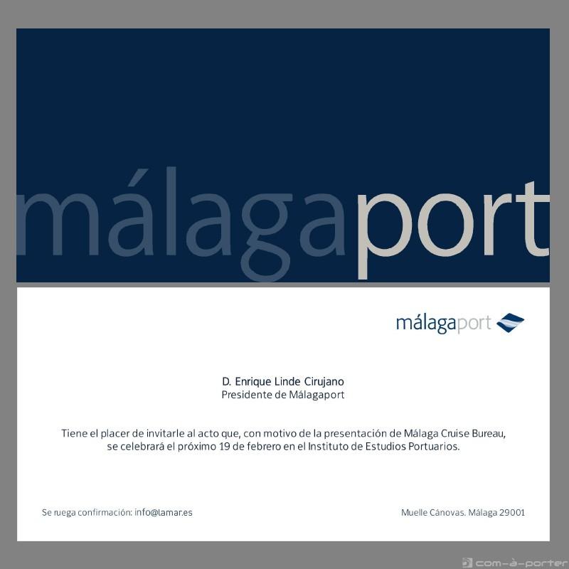 Invitación y programa del acto de presentación de Málaga Cruise Bureau (Málagaport)