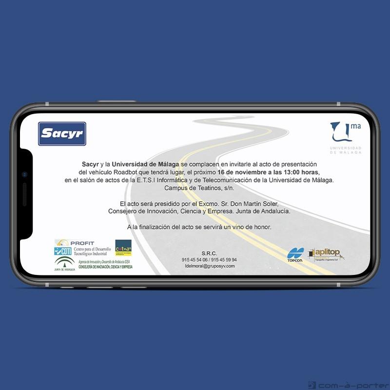 Invitación Electrónica para acto de inauguración del vehículo Roadbot (Sacyr y UMA)