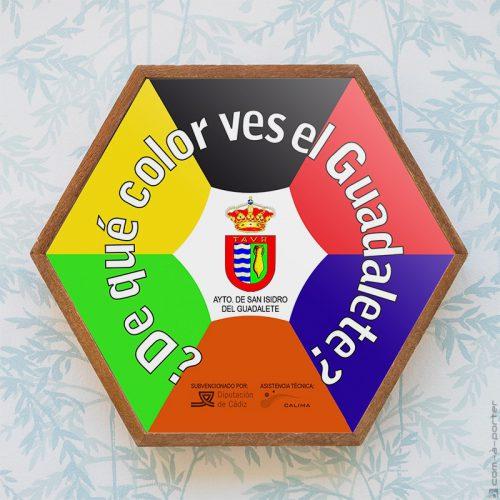 Diseño de pegatina hexagonal para Ayuntamiento de San Isidro del Guadalete
