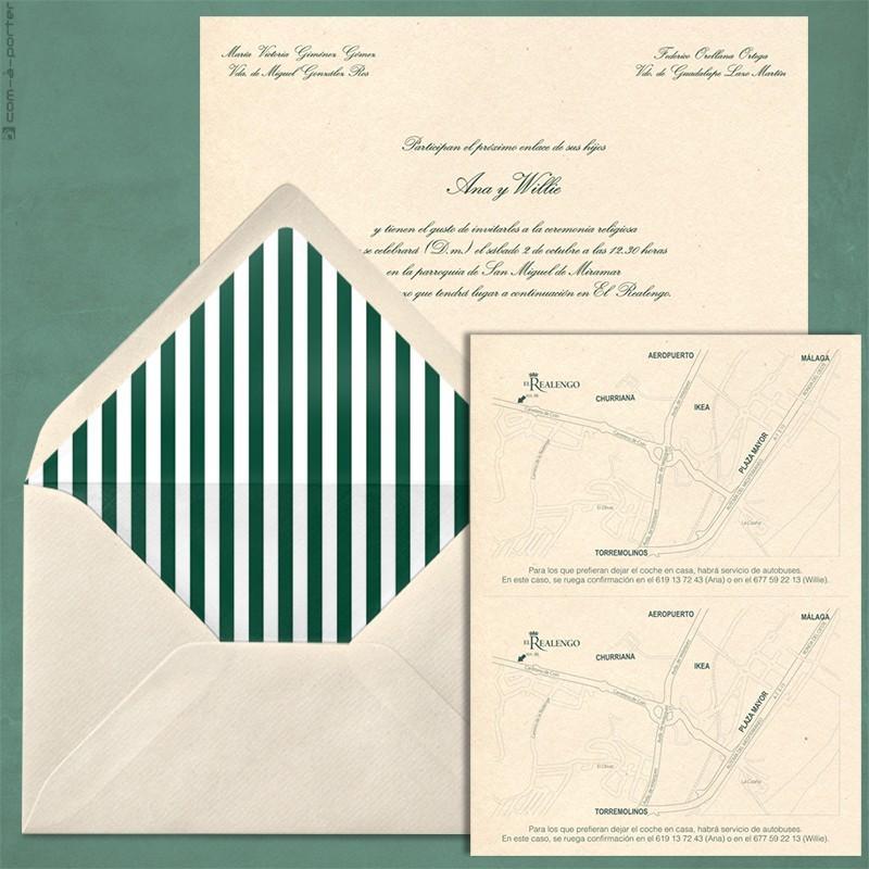 Diseño de Invitación de Boda en Málaga, con sobre forrado a rayas