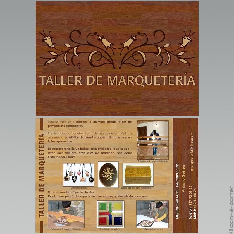 Flyer informativo de Taller de Marquetería