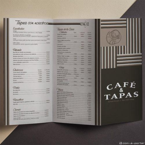 Tríptico Carta de Menú de Café & Tapas en Español y en Inglés