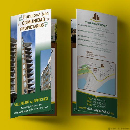 Díptico publicitario de Villalba y Sánchez Oficina de Málaga