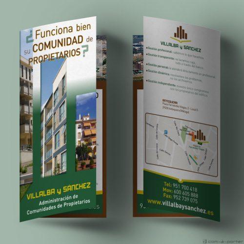 Díptico publicitario de Villalba y Sánchez Oficina de Antequera