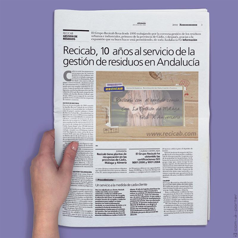 Medias páginas de Publicidad de Recicab