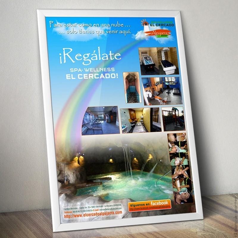 Cartel publicitario de Complejo Rural El Cercado, área Spa-Wellness