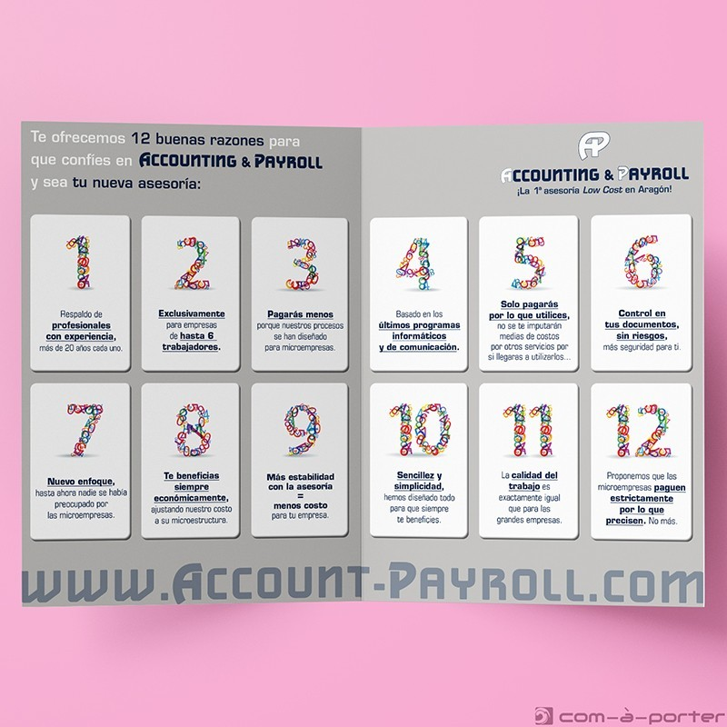 Díptico publicitario de Accounting & Payroll