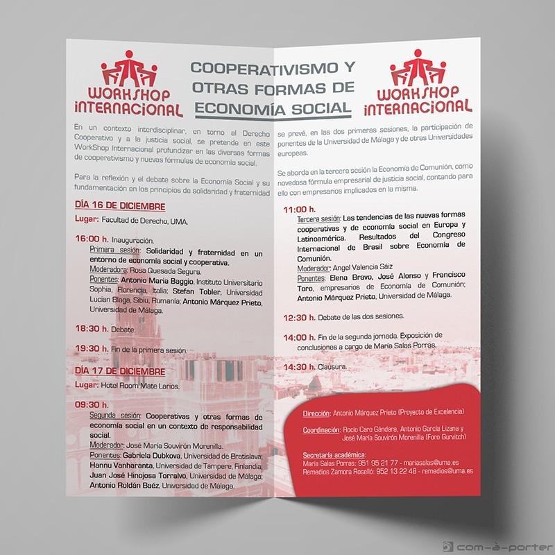 """Díptico de Workshop Internacional """"Cooperativismo y otras formas de economía social"""""""