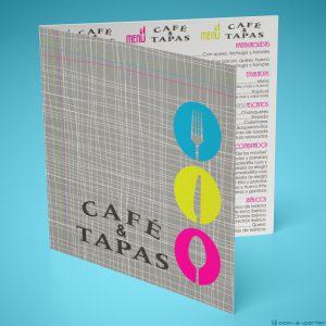 Díptico Carta de Menú de Café & Tapas en Español y en Inglés