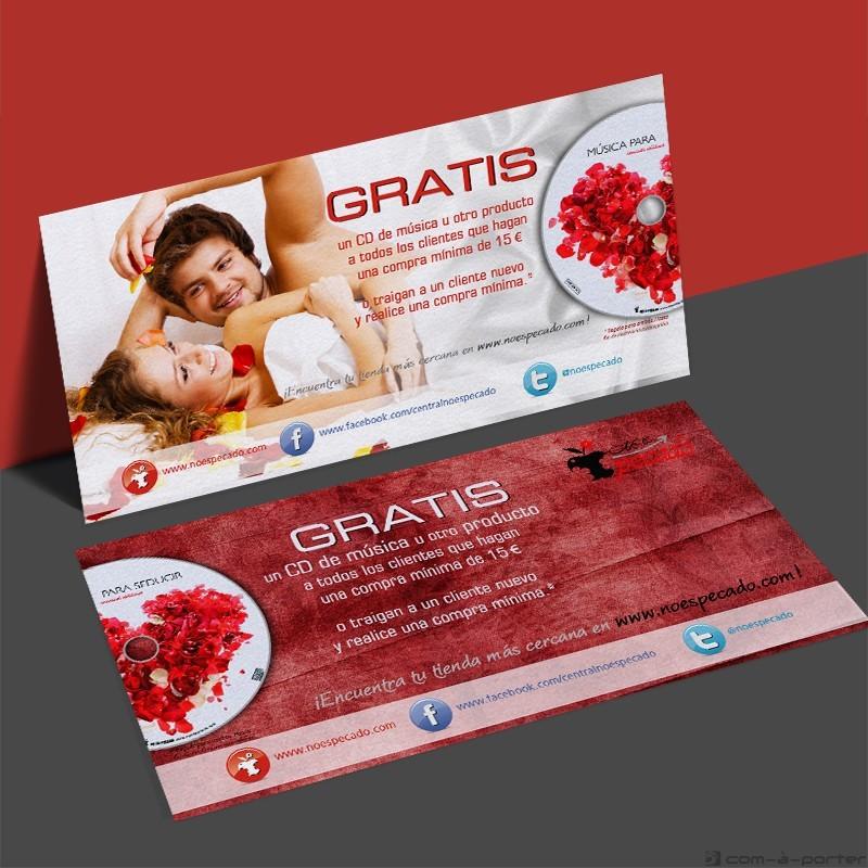 Flyer promocional de ventas de No Es Pecado Gratis CD de Música