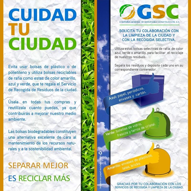 """Flyer de campaña de reciclaje """"Cuidad Tu Cuidad"""" de la GSC (Compañía General de Servicios y Construcción, S.A)"""
