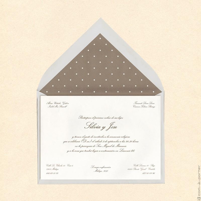 Invitación de Boda en Málaga con sobre forrado de lunares con fondo beige