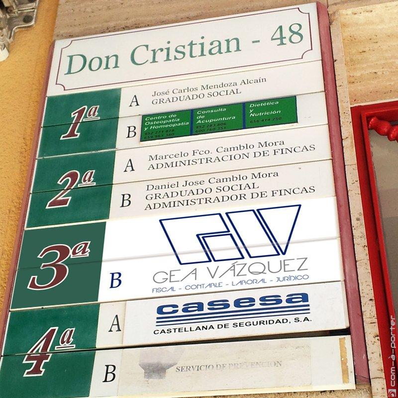 Diseño de Directorio y Placa de Gea Vázquez Asesores