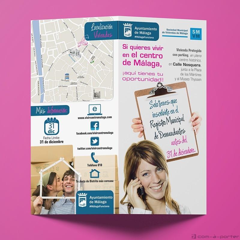 Díptico informativo de una promoción VPO de la Sociedad Municipal de Viviendas de Málaga (Ayuntamiento de Málaga)