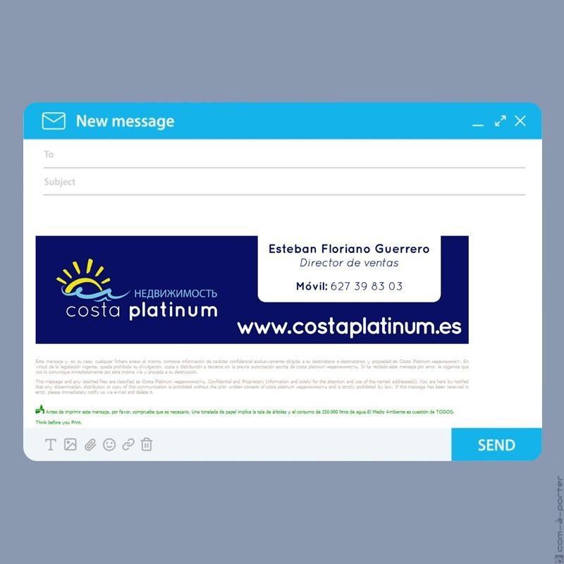 Tarjeta de visita y firma de email de Costa Platinum