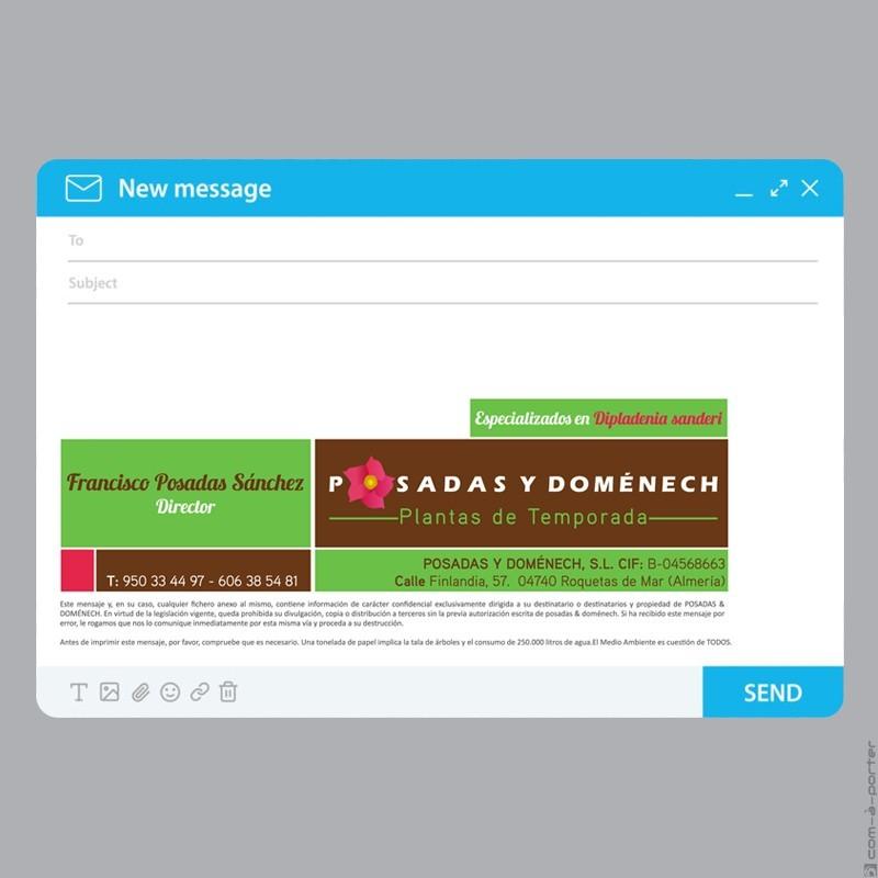 Tarjeta de visita y firma de email de Posadas y Doménech Plantas de Temporada