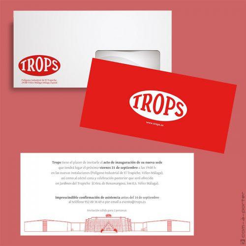 Invitación de acto de inauguración de nueva sede de Trops