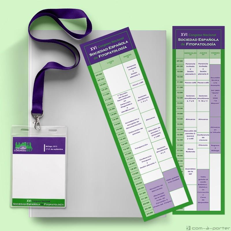 Diseño de credencial y guarda-páginas con programa de congreso