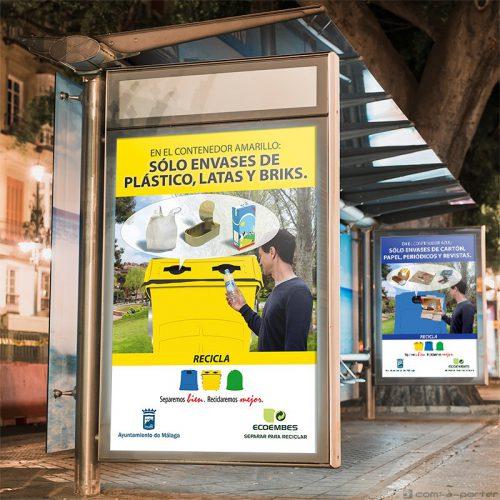 """Mupis para Campaña de Reciclaje """"Separemos bien, Reciclaremos mejor"""" del Ayuntamiento de Málaga con Ecoembes"""
