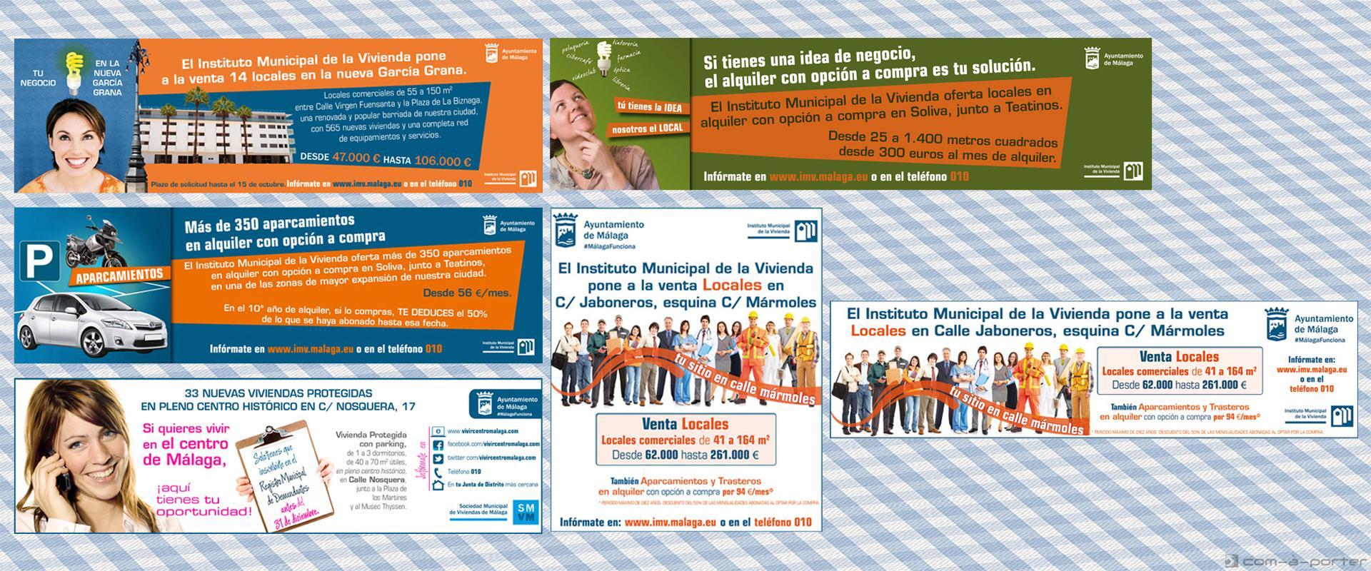 Faldones y robapágina de diversas campañas del Instituto Municipal de la Vivienda de Málaga
