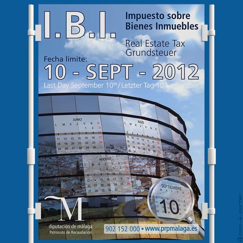 Cartel informativo del Impuesto sobre Bienes Inmuebles (I.B.I.), del Patronato de Recaudación (Diputación de Málaga)