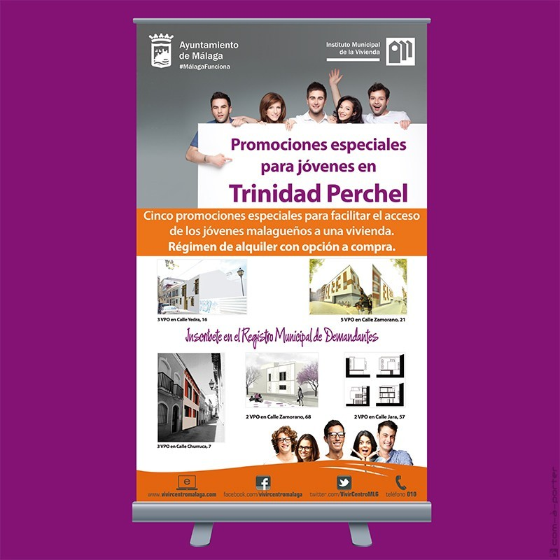 Cartelería para paneles informativos de Promociones Especiales para Jóvenes en Trinidad Perchel, del Instituto Municipal de la Vivienda (Ayuntamiento de Málaga)