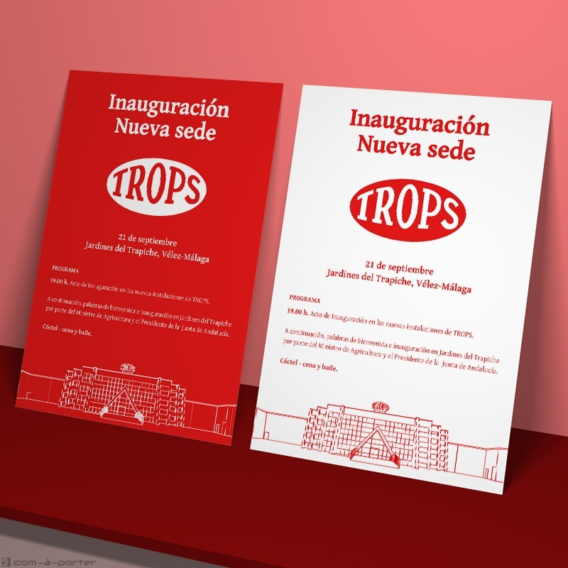 Cartelería de la inauguración de nueva sede de Trops