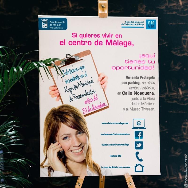 Cartel de la Sociedad Municipal de Viviendas de Málaga (Ayuntamiento de Málaga)