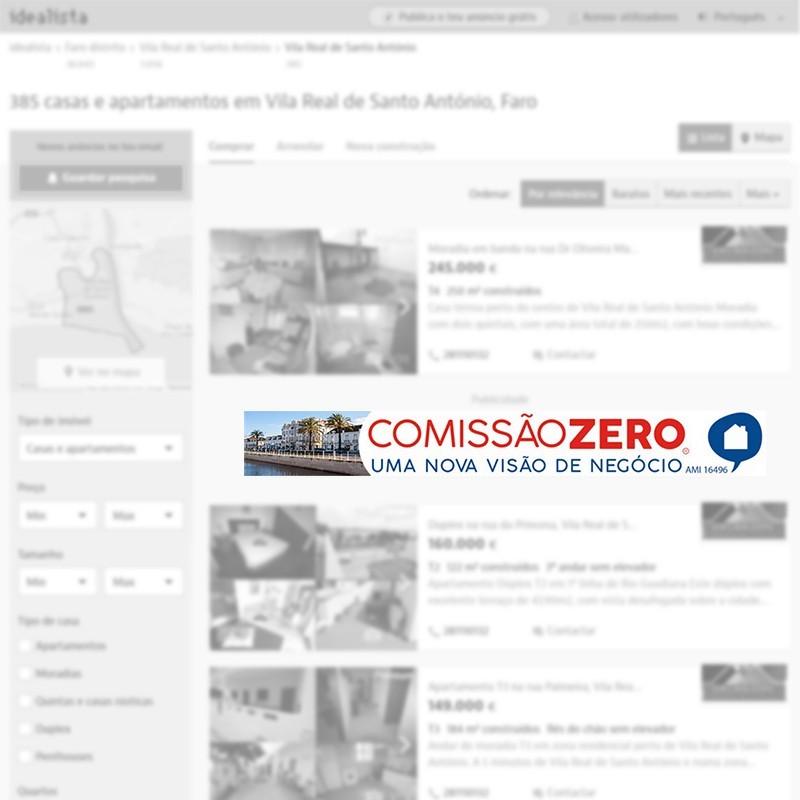 Megabanner de agencia inmobiliaria en Vila Real de Santo António (Portugal) para portal inmobiliario www.idealista.pt