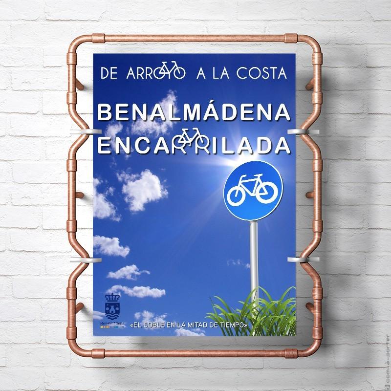 Cartel de la campaña del carril bici del Ayuntamiento de Benalmádena