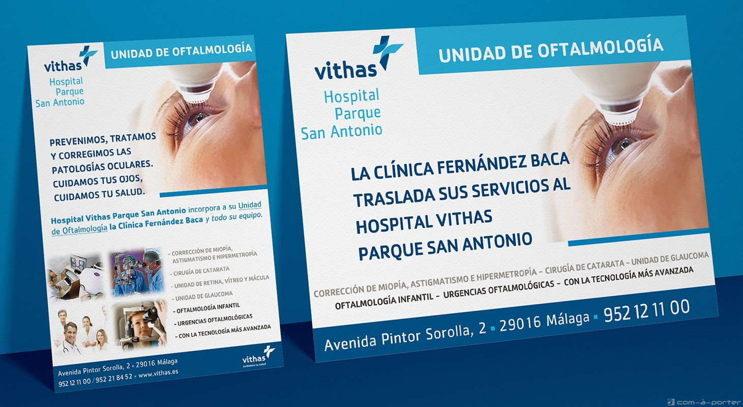 Cartel de la Unidad de Oftalmología de Vithas Hospital Parque San Antonio