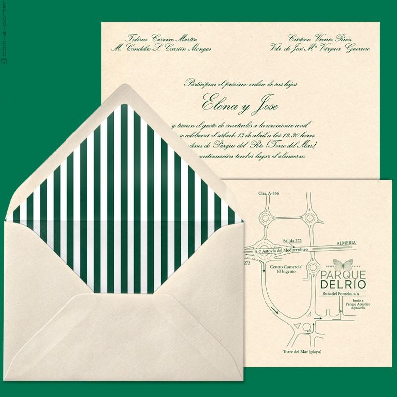 Diseño de Invitación de Boda en Málaga, con sobre forrado a rayas verdes