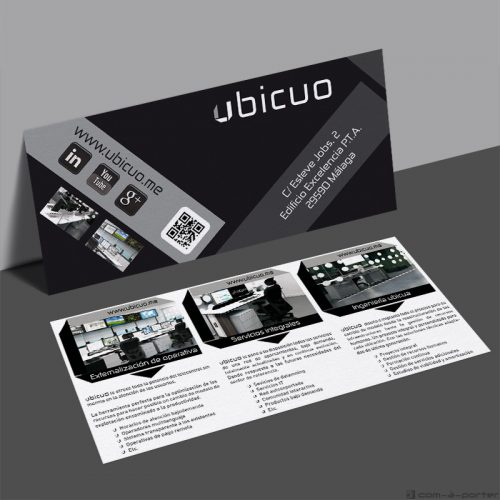 Flyer de presentación de servicios de Ubicuo