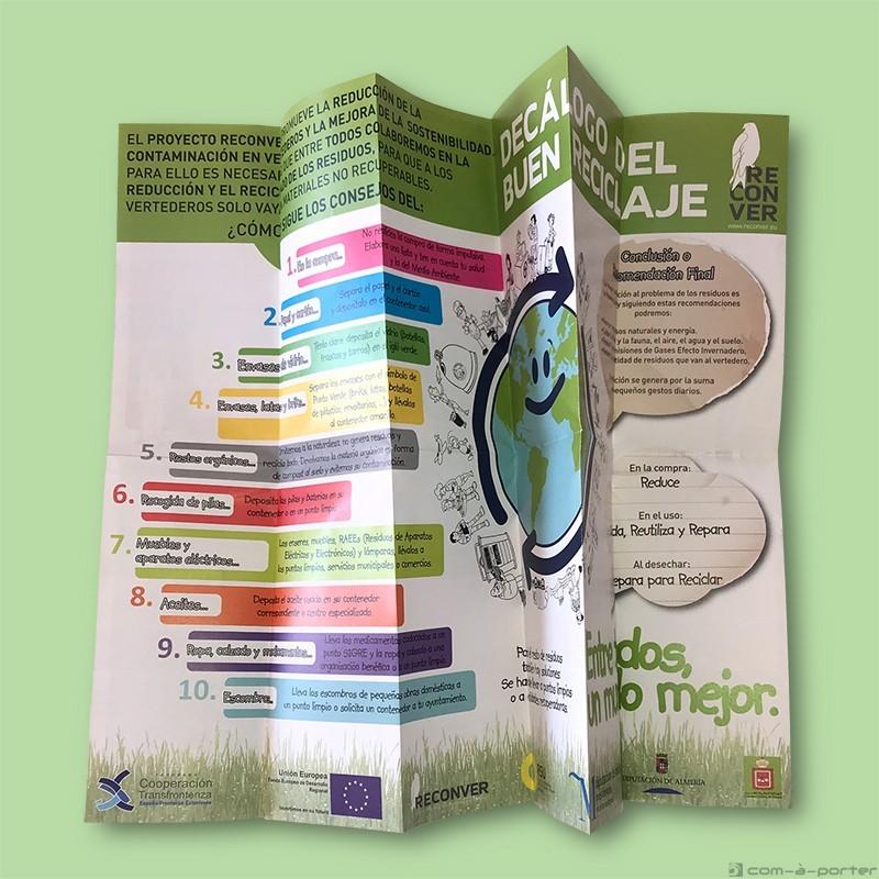 Folleto Decálogo del Buen Reciclaje, del Programa para la Reducción de la Contaminación en Vertederos de Reconver