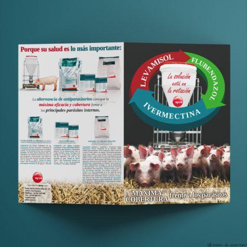 Díptico de triple producto antiparasitario porcino para máxima cobertura de Laboratorios Syva