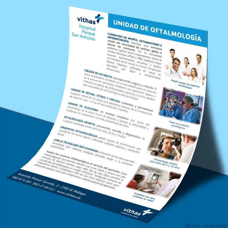 Flyer para encarte de Vithas Hospital Parque San Antonio