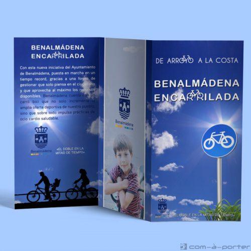 Tríptico de la campaña del carril bici del Ayuntamiento de Benalmádena